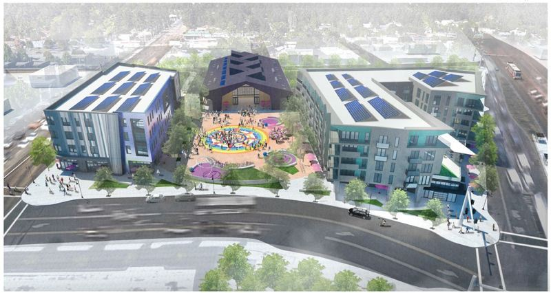 COURTESY GRAPHIC - Concept rendering facing west with new plaza and three buildings, including the public market.