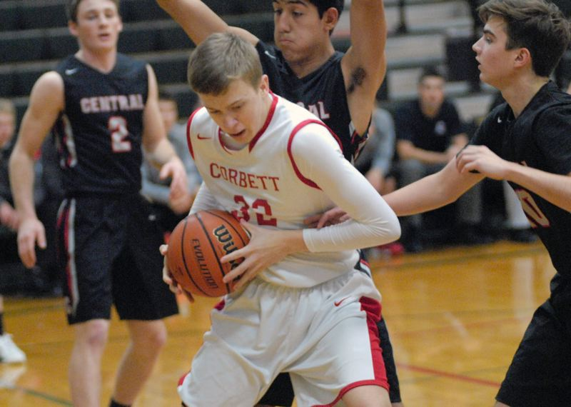 GRESHAM OUTLOOK: MATT RAWLINGS - Corbett's Preston Horvath tries to create space in the paint.