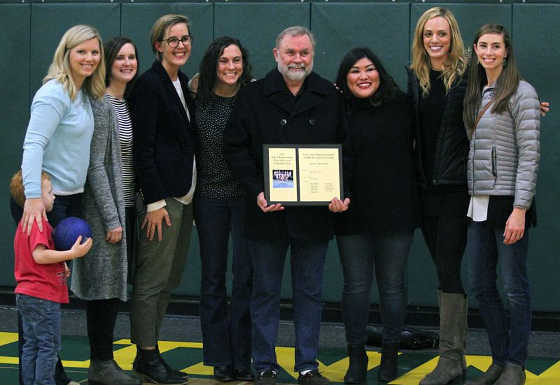 TIDINGS PHOTO: MILES VANCE - The 2003 West Linn volleyball team that won the Class 4A state championship was inducted into the West Linn Athletic Hall of Fame on Friday night.