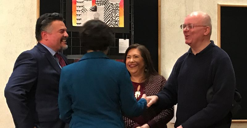 TRIBUNE PHOTO: SHASTA KEARNS MOORE - Yvonne Curtis is congratulated in her new position by Portland Public Schools Superintendent Guadalupe Guerrero and school board members, from left, Julie Esparza Brown and Paul Anthony.