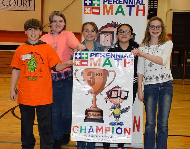 SUBMITTED PHOTO: KATHLEEN FRENCH - Molalla's third place sixth grade team includes from left to right: Christian Zannotti, Hazell Parker, Katherine Nunn, Kamila Bedolla and Marie Mason.