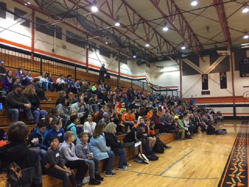 SUBMITTED PHOTO: KATHLEEN FRENCH - Spectators filled the Molalla High School gymnasium on Dec. 9 for the Perennial Math tournament.