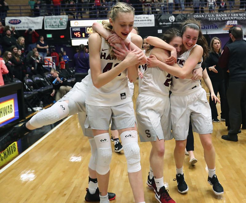PAMPLIN MEDIA GROUP PHOTO - Southridge's Cameron Brink (shown here at the end of the 2016-17 season) and her Skyhawk teammates are ranked No. 1 again after winning the Class 6A state crown last spring.