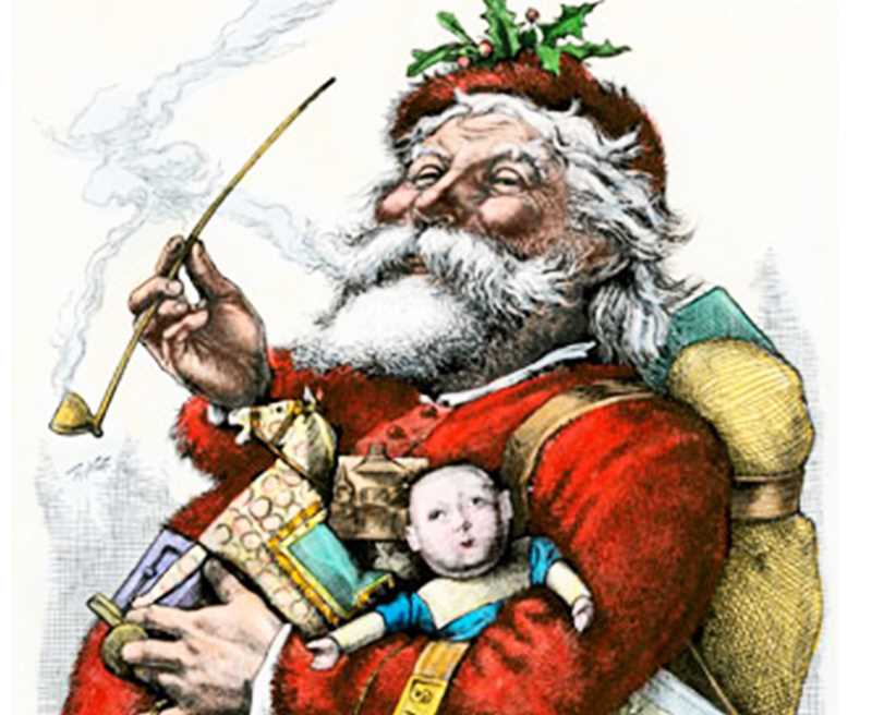 PUBLIC DOMAIN ART - Thomas Nast's famous illustration, named 'Merry Old Santa,' was first published in an 1881 edition of Harper's Weekly magazine. The work is heralded as the beginning of the modern depiction of the Christmas icon, that of a jolly, rotund man in a red suit.