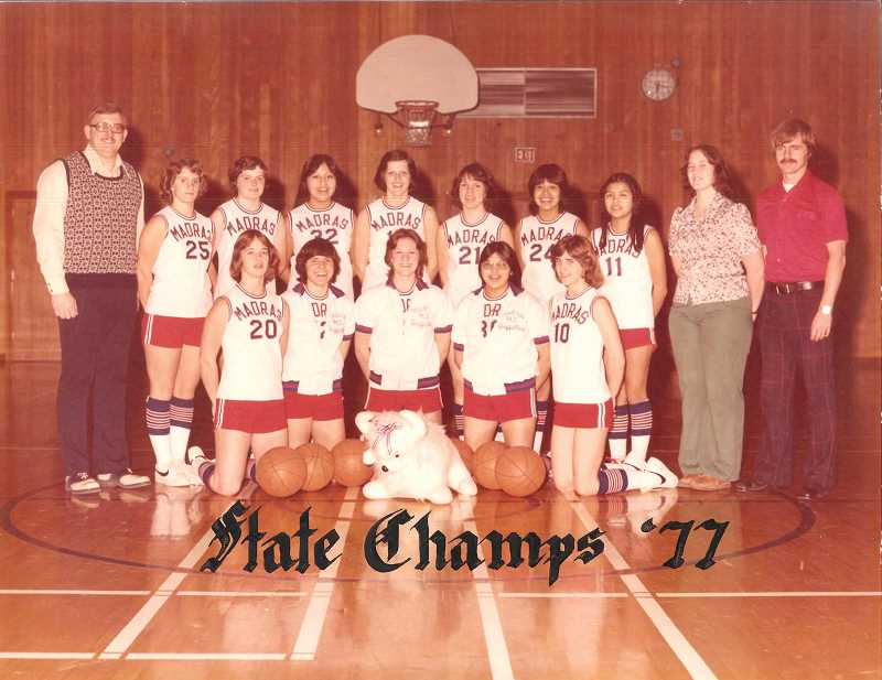 SUBMITTED PHOTO - The 1977 girls AA state basketball champions included, front row from left, Mary Nelson, Kim Manion, Barb Earl, Fran Moses, Joanie Hatfield. Back row, from left, Dave Wiles, Molly Davis, Mina Shike, Roberta Koch, Tami Winterburn, Marla Patt, Kimiko Danzuka, Manager Lisa Nelson, Bud Risio. The Buffs cruised the season with just one loss, then played clutch ball in the late going of each of their three state tourney wins.