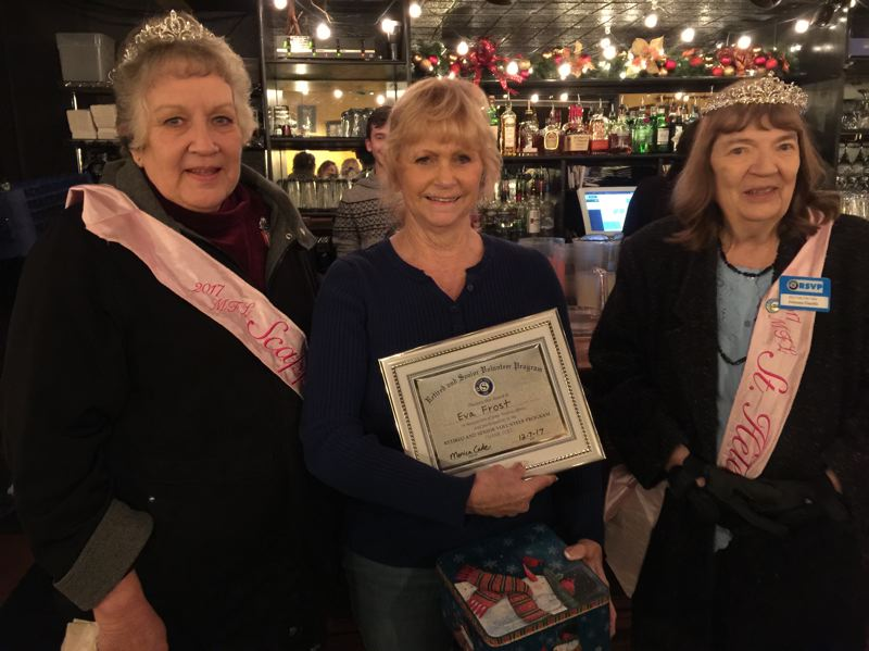 PHOTO COURTESY OF COLUMBIA COUNTY RSVP - Eva Frost (center) is awarded the Volunteer of the Year award by Columbia County RSVP. Pictured left to right: My Fair Lady Princess Alta Lynch, Frost, and My Fair Lady Princess Claudia Eagle.