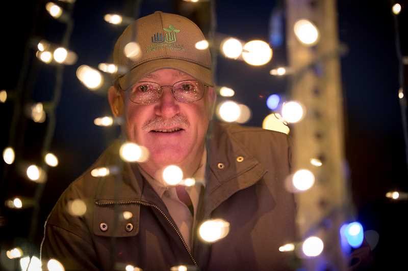 SPOKESMAN PHOTOS: JAIME VALDEZ - Wilsonville maintenance worker Ralph Thorpe built new holiday light structures as an alternative to trees.