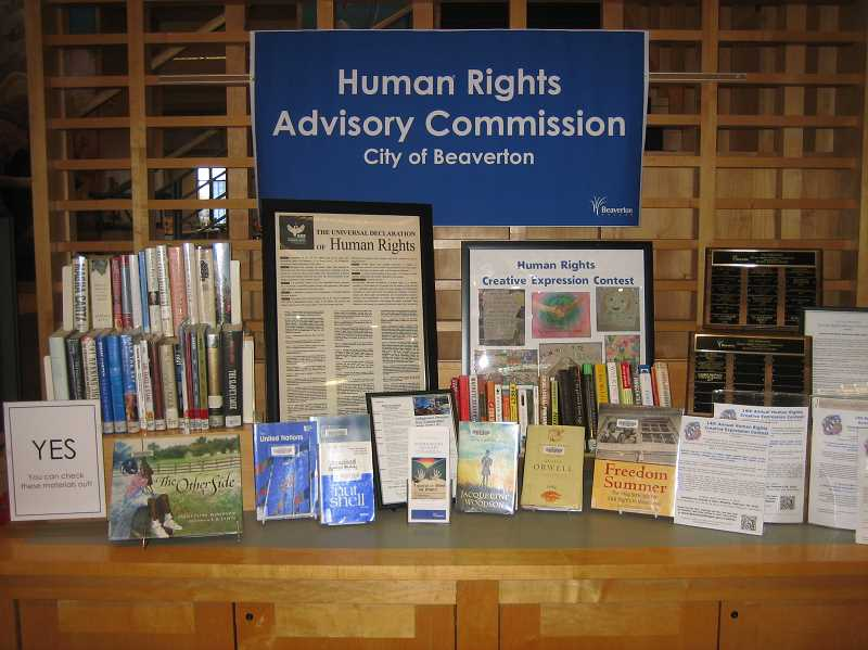 COURTESY: MARILYN MCDONALD - The Beaverton City Library's display on human rights includes books by George Orwell and Jacqueline Woodson.