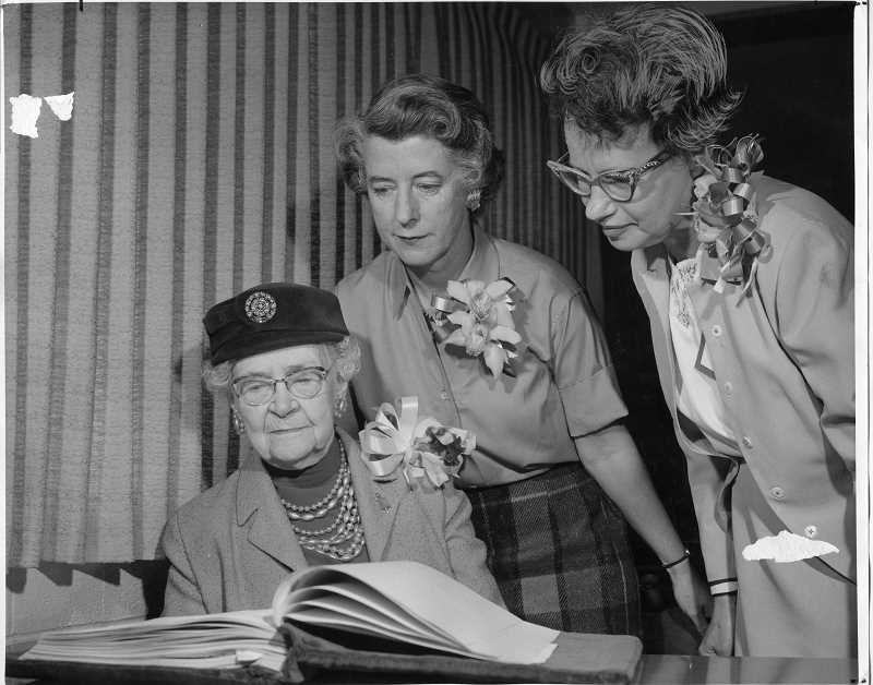 PHOTO COURTESY OF THE LAKE OSWEGO PUBLIC LIBRARY - Members of Oregon Press Women celebrate their 10-year anniversary in October 1961. From left: Emma C. McKinney, Louise Shadduck and Beth Ryan.