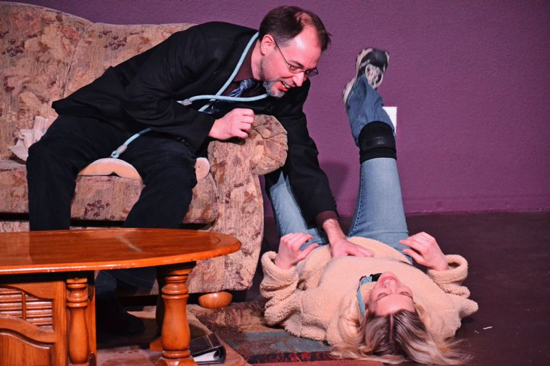 CONTRIBUTED PHOTO: BRIGHT EYES PHOTOS: NW - Greg (Nathan Wright) is in need of companionship. Sylvia (Melissa Jean Swenson) is in need of a home. Greg's wife Kate (Erin Bass) is convinced her dog days are over.