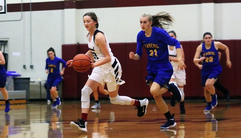 DAN BROOD - Sherwood sophomore Ava Boughey races up court on a fast break.
