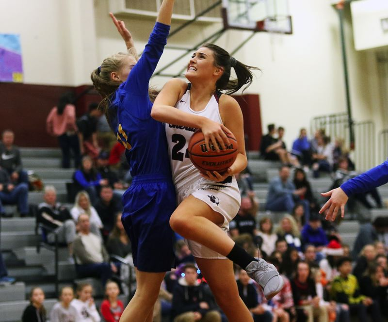 DAN BROOD - Sherwood junior Aubrie Emmons (right) looks to go to the basket against Newberg freshman Ashley Kosmicki.