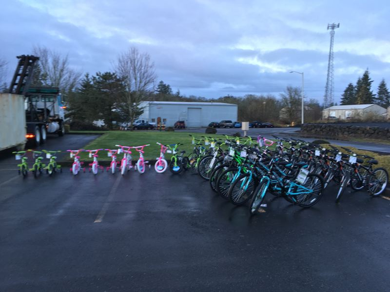 Dozens of bicycles were dropped off at Greater Oregon Behavioral Health Inc.s St. Helens office Wednesday morning, Dec. 20. The bikes will be donated to children in need throughout the area.