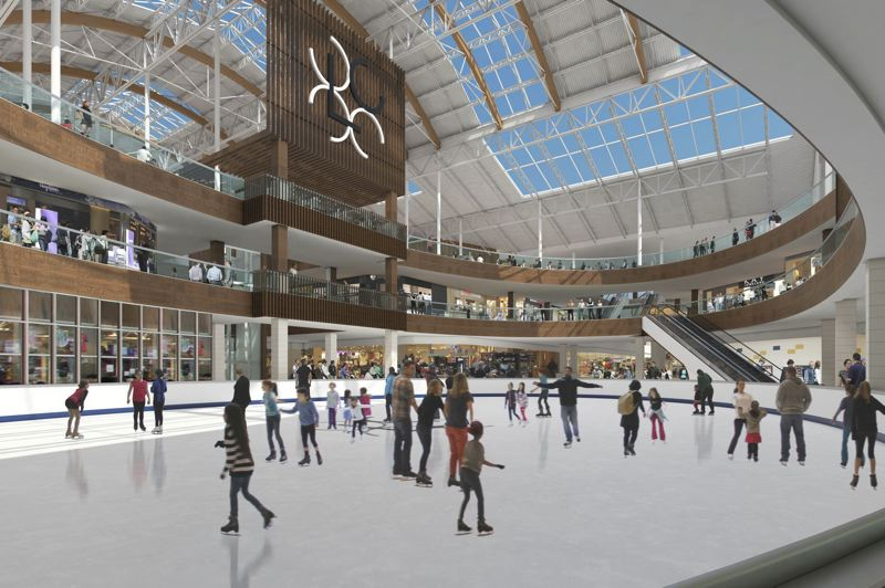 COURTESY: LLOYD CENTER - A rendering of the newly rouned skating rink at Lloyd Center. The debate is how to lure people to the mall in an age of online shopping.