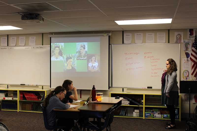 PIONEER PHOTO: KRISTEN WOHLERS - Renaissance sixth grade teacher Jessica Tosti taught the first art lesson of a new curriculum on painter Frida Kahlo on Dec. 7.