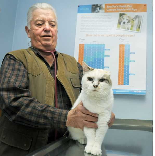 GARY ALLEN - A one-eared cat has been a constant presence for many years at Robert Holveck's Chehalem Animal Clinic on North College Street, but will have to find a new home after Holveck announced this month that he would close the doors of the facility after 35 years in business.