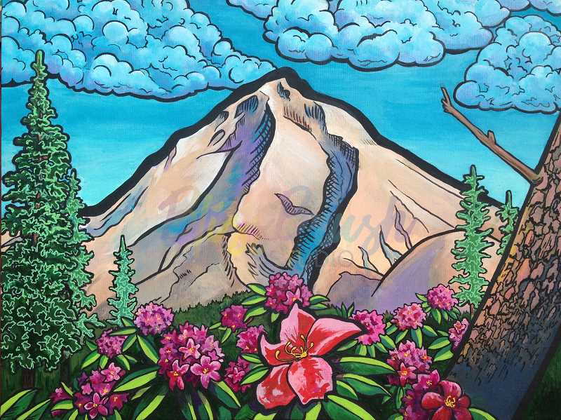 CONTRIBUTED PHOTO: KARIN HOFFMAN - Karin Hoffman's painting 'Mt. Hood Majestic' is pictured. The Sandy-based artist's work will be featured at the Estacada Public Library for several months.
