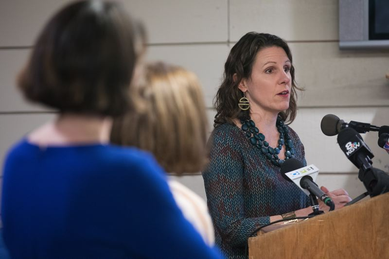 PORTLAND TRIBUNE: JONATHAN HOUSE - Multnomah County Chair Deborah Kafoury speaks during a press conference at the Human Solutions Family Center in Southeast Portland.