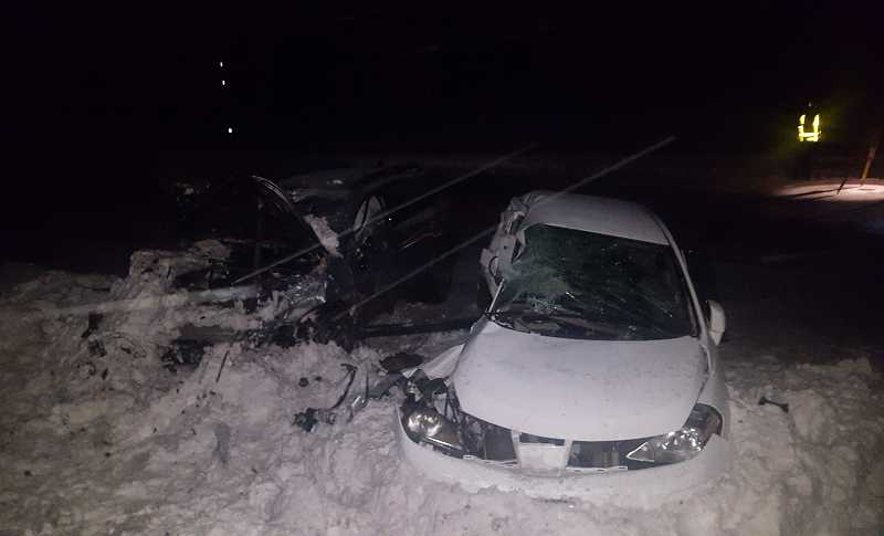 OSP PHOTO - The fatal accident was in a snowy area of the highway, near the Highway 35 turn off.