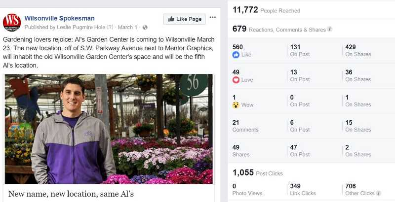 A single Facebook post, linking to a Spokesman story about the upcoming opening of an Als Garden & Home store in Wilsonville, blew everything else out of the water in terms of readership.