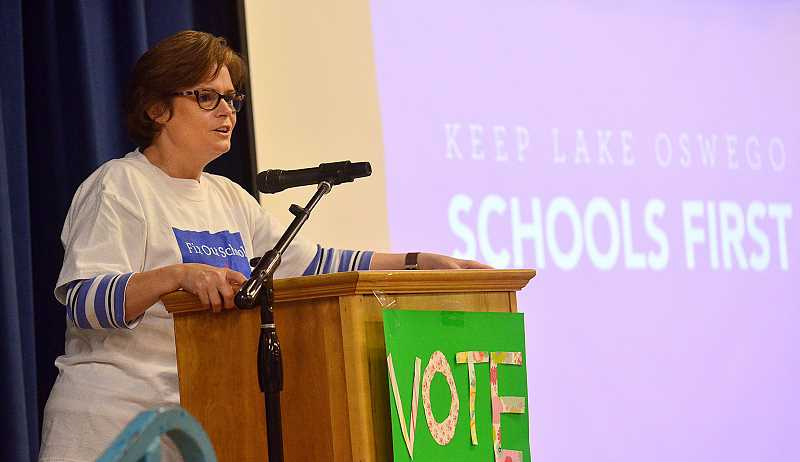 REVIEW PHOTO: VERN UYETAKE - Lake Oswego School Superintendent Heather Beck urges community members to support the district's $187 million bond at a rally in advance of the May election. The measure passed with more than 60 percent of the vote.