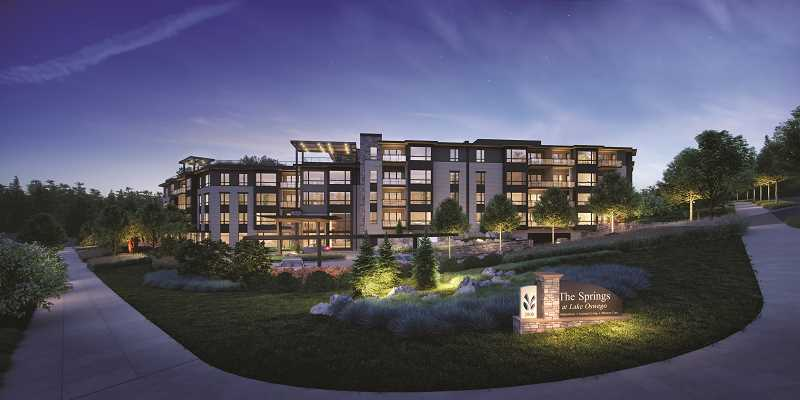 PHOTO COURTESY OF THE SPRINGS LIVING - Construction is underway at Kruse Way and Boones Ferry Road on The Springs at Lake Oswego. The completed senior living community will feature underground parking and 216 apartments for independent living, assisted living and a memory care unit.