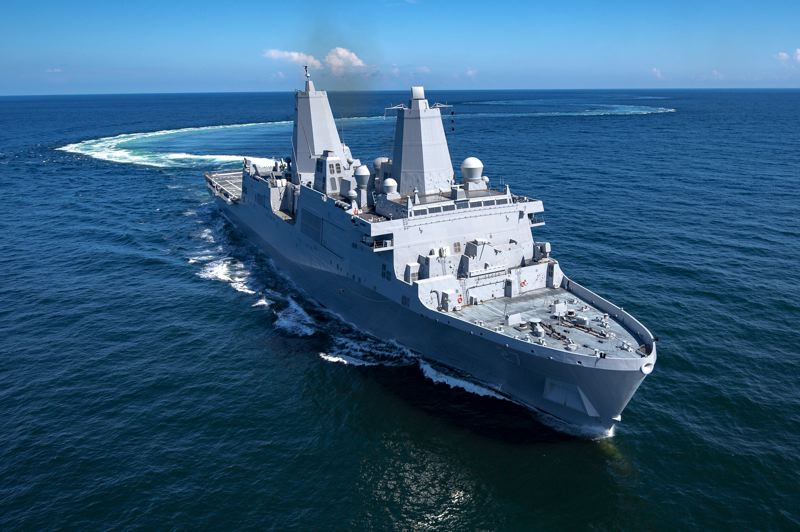 COURTESY: INGALLS SHIPBUILDING - The crew of the USS Portland has completed training and put the ship through its sea paces, and now it's heading through the Panama Canal on its way to San Diego. It'll arrive there in early January, and then travel to Portland in April for commissioning.