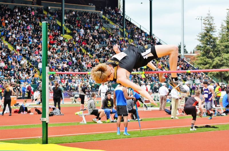 SPOTLIGHT PHOTO: JAKE MCNEAL - Dakotah Camberg won the Class 5A boys' high jump with a personal-best and school record-tying 6-foot, 6-inch leap.