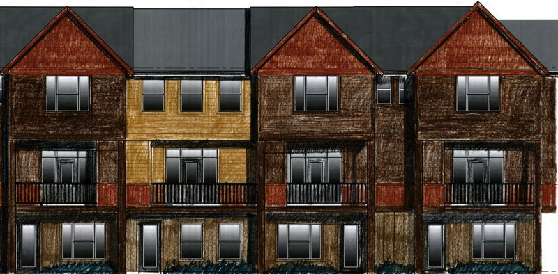 CONTRIBUTED DRAWING - A rough drawing submitted to the Gresham Design Commission shows the plan for three-story townhomes in the Ironcrest Estate development.