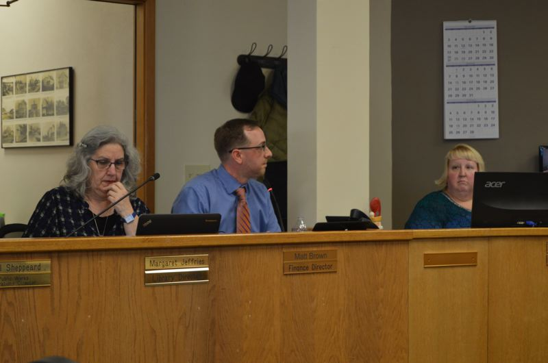 SPOTLIGHT PHOTO: NICOLE THILL - Finance Director Matt Brown, center, spoke to the St. Helens City Council about an increase in water rates for 2018 during a council work session on Wednesday, Dec. 20. The council voted to approve a 3.22 increase in water, sewer and utility rates, an increase that falls in line with consumer price index indicators.