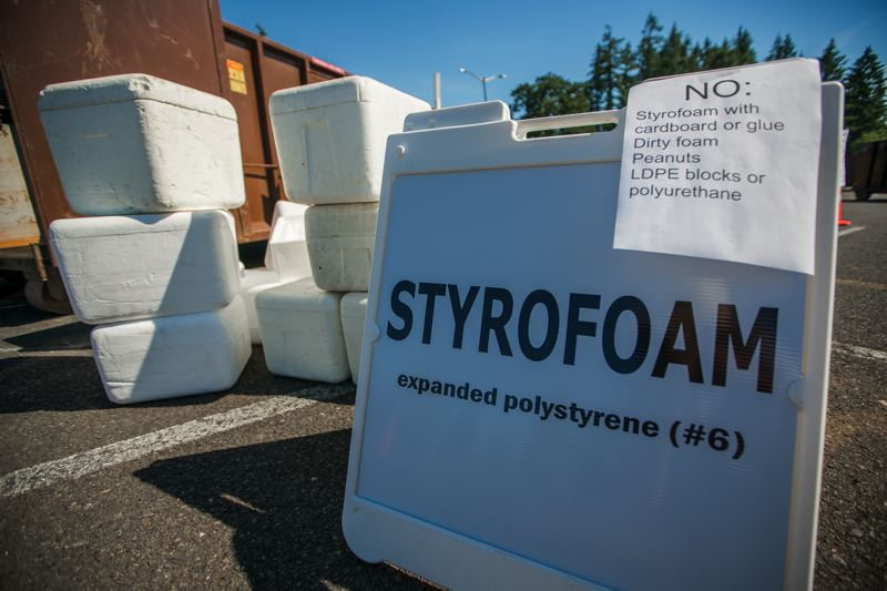 COURTESY PHOTO - Polystyrene foam, commonly called styrofoam, can be difficult to recycle. A company in Tigard, Agilyx, turns the blocks into styrene oil, used to produce new products.