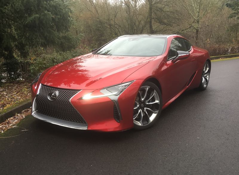 PORTLAND TRIBUNE: JEFF ZURSCHMEIDE - The 2018 Lexus LC 500 will turn heads with its sinuous and flowing design. The hood seems impossibly long and the fenders flare out to cover the extra-wide wheels and tires.