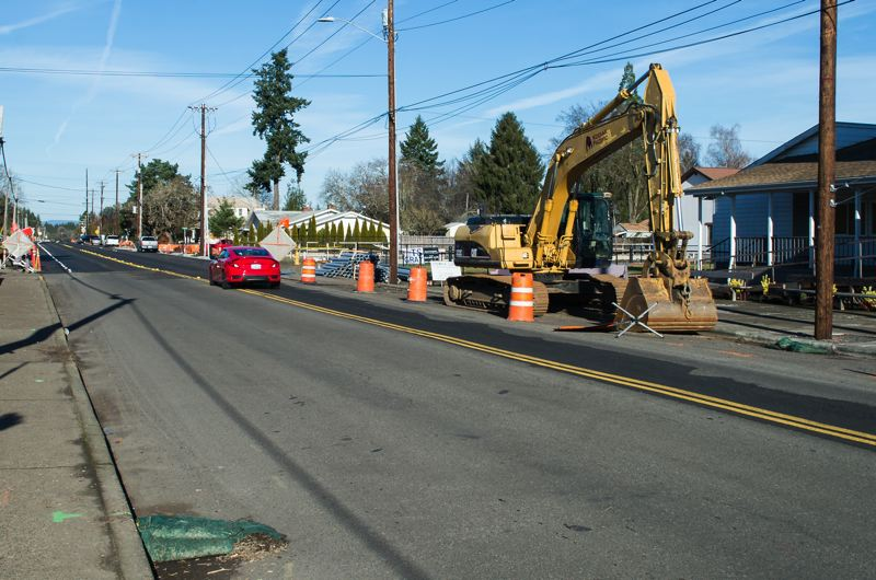 NEWS-TIMES PHOTO: CHRISTOPHER OERTELL - In Cornelius, North 10th Avenue is still a construction zone for much of 2018 after a partial closure from August to December.