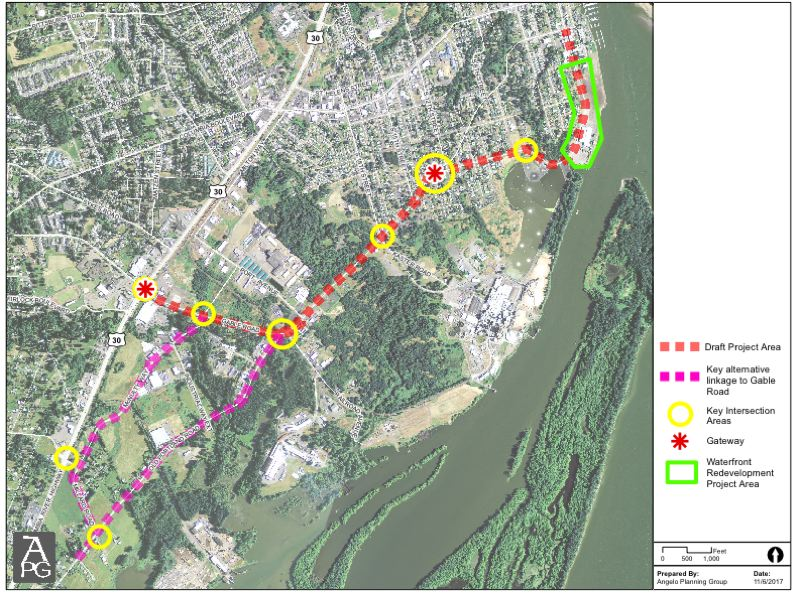PHOTO COURTESY OF CITY OF ST. HELENS - An aerial map of St. Helens with key intersection areas identified.