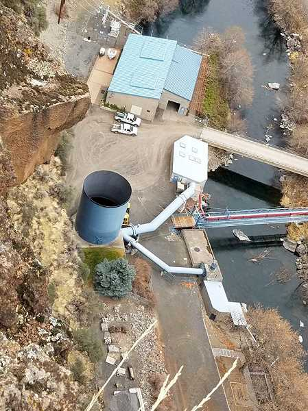 DVWD PHOTO - Opal Springs' generation plant and surge tank are viewed from above the canyon.