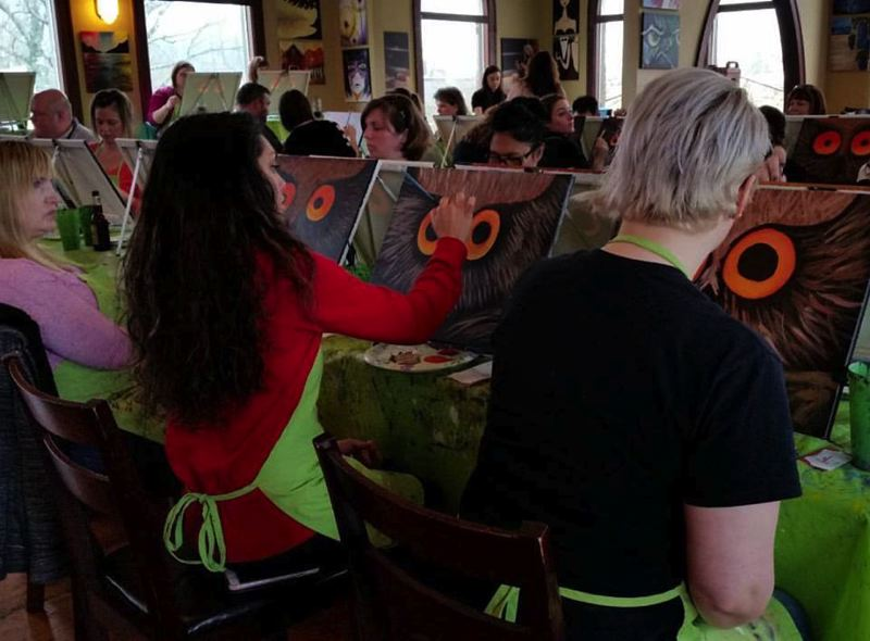 CONTRIBUTED PHOTO: MICHAEL SPINELLA - Paint Nites take place twice every Sunday at Spinellas, pairing painting and drinks.