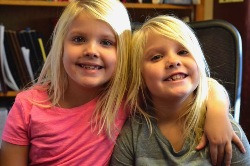POST PHOTO: BRITTANY ALLEN - Kylie and Brooke Anderson are second-graders at Sandy Grade School. Besides being in separate classes, they are pretty much inseparable.