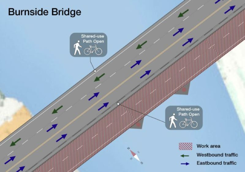 MULTOMAH COUNTY - Two lanes of the Burnside Bridge are scheduled to close Friday for two years.