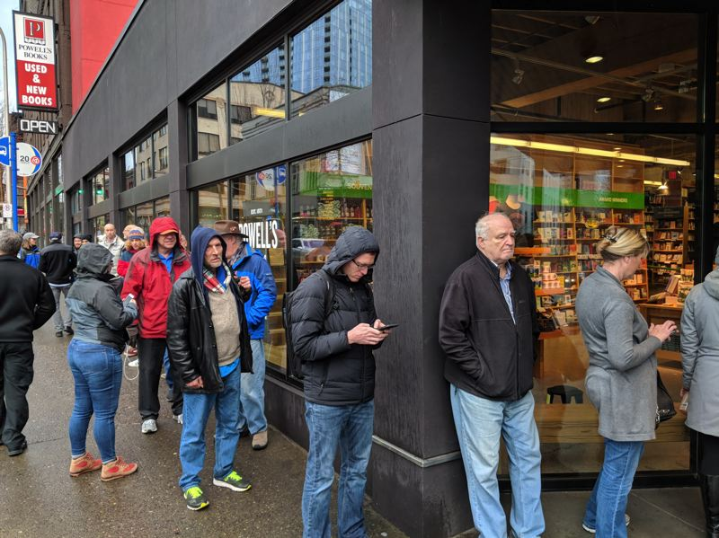 COURTESY PHOTO: KOIN 6 NEWS - Dozens of people waited in line Friday morning outside Powell's City of Books on Southwest Burnside Street to buy Michael Wolff's 'Fire and Fury,' an insider's look at the Trump White House.