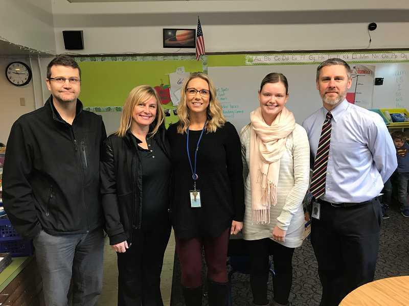 PHOTO COURTESY OF CANBY SCHOOL DISTRICT - Pictured from left to right are: Matt Olsen, Brenda Griffin, Carus Counselor Stacey Ackerman, Carus Teacher Anna Jones and Carus Principal Sam Thompson.