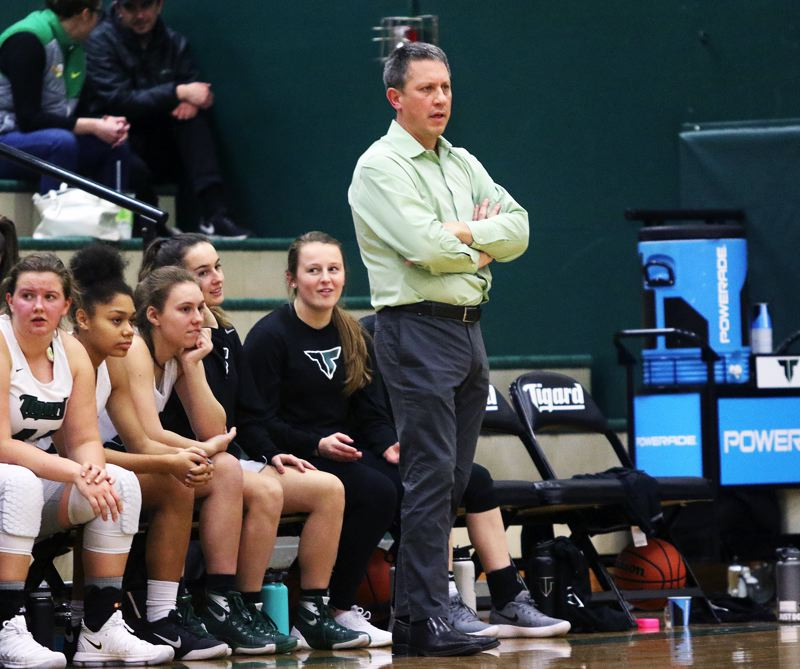 DAN BROOD - Tigard coach Steve Naylor watches the action during the Tigers' win over West Linn.