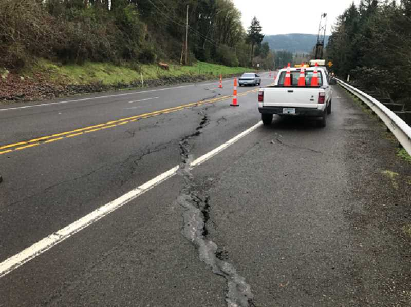 PIONEER FILE PHOTO - The Highway 213 crack developed on Mulino Hill in March 2017 above an ancient landslide.