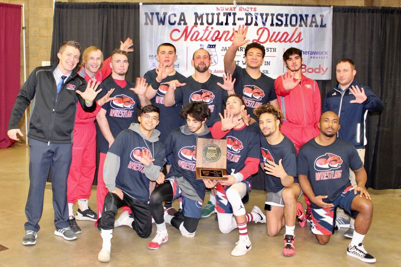 PHOTO BY ANDREW STANFIELD - Top-ranked Clackamas Community College clinched a record fifth consecutive NJCAA division title Friday at the NWCA National Duals Championships in Fort Wayne, Indiana.