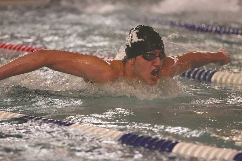 PHIL HAWKINS - North Marion's Lucas Toth led the boys swim team to a second place finish at Molalla on Friday after taking home a pair of first-place finishes in the 100-yard butterfly and backstroke events.