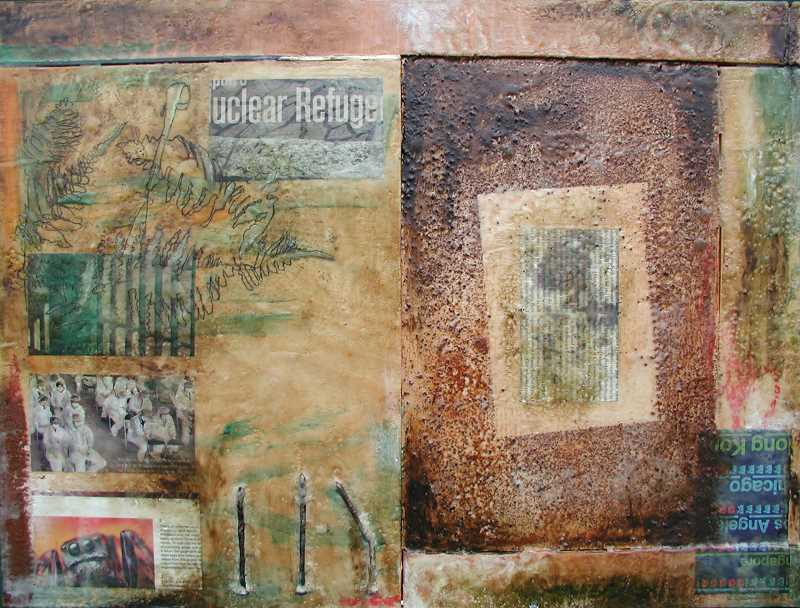 COURTESY PHOTO: SAM MARROQUIN - Nuclear Refuge, by Sam Marroquin, encaustic and mixed media on wood -- 2014.