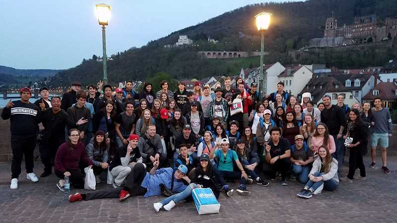COURTESY PHOTO: DANIELLE RESTUCCIA - The Forest Grove Adventure Club posed for a photo last year on the last evening in Heidelberg, Germany.