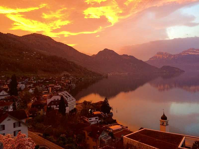 COURTESY PHOTO: DANIELLE RESTUCCIA - Students saw both urban tourist attractions and natural wonders including this sunset over Weggis, Switzerland.