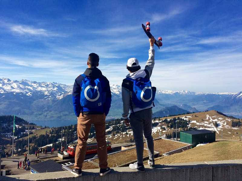 COURTESY PHOTO: DANIELLE RESTUCCIA - A few Forest Grove High School students took in the view on top of Mount Rigi in Switzerland.