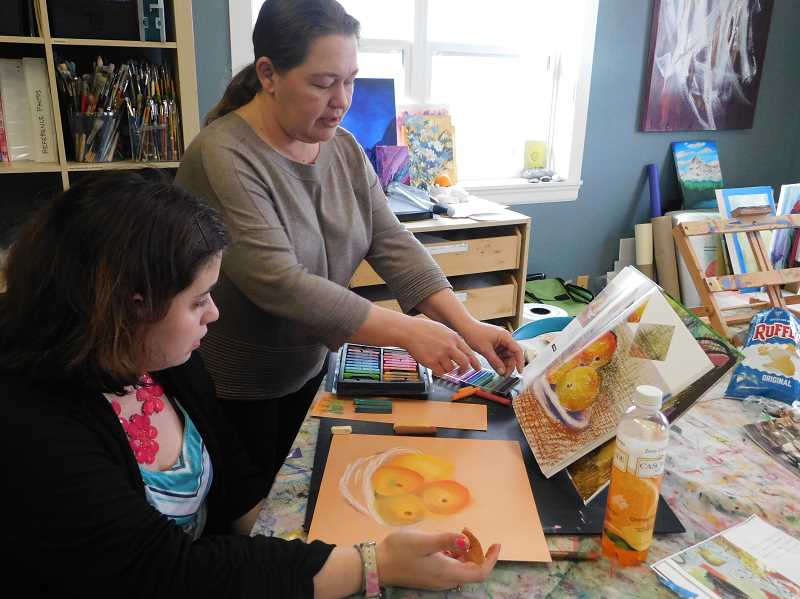 ESTACADA NEWS PHOTO: EMILY LINDSTRAND -  At Infusion Gallery, attendees can work with a variety of mediums.