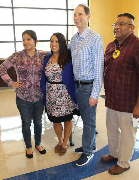 "HOLLY M. GILL - U.S. Sen. Ron Wyden, third from left, held a town hall in Warm Springs Aug. 10, 2017. From left, Karlen Yallup, Tribal Council member Carina Miller, and Council Chairman Eugene ""Austin"" Greene, flank Wyden."